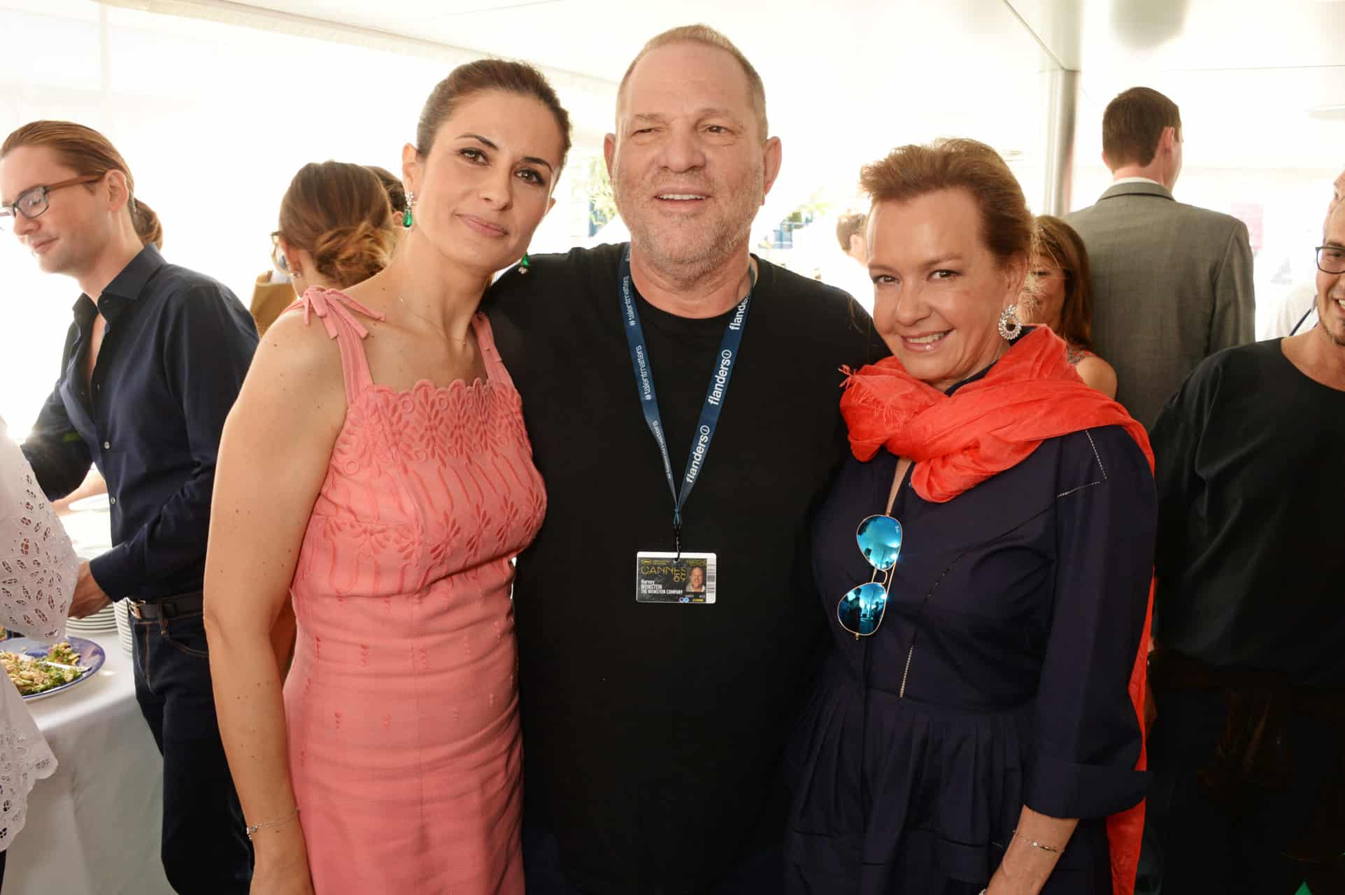 CANNES, FRANCE - MAY 14:  (L to R) Livia Firth, Harvey Weinstein and Caroline Scheufele, Artistic Director and Co-President of Chopard, attend a private lunch hosted by Colin Firth, Livia Firth and Chopard to celebrate the journey to sustainable luxury during the Cannes Film Festival 2016 aboard The Silver Reel on May 14, 2016 in Cannes, France.   Photo Credit: Dave Benett