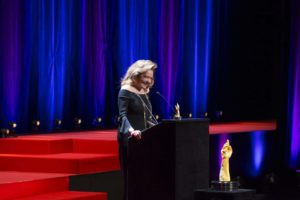 Caroline Scheufele receiving the Prix de la montre joaillerie