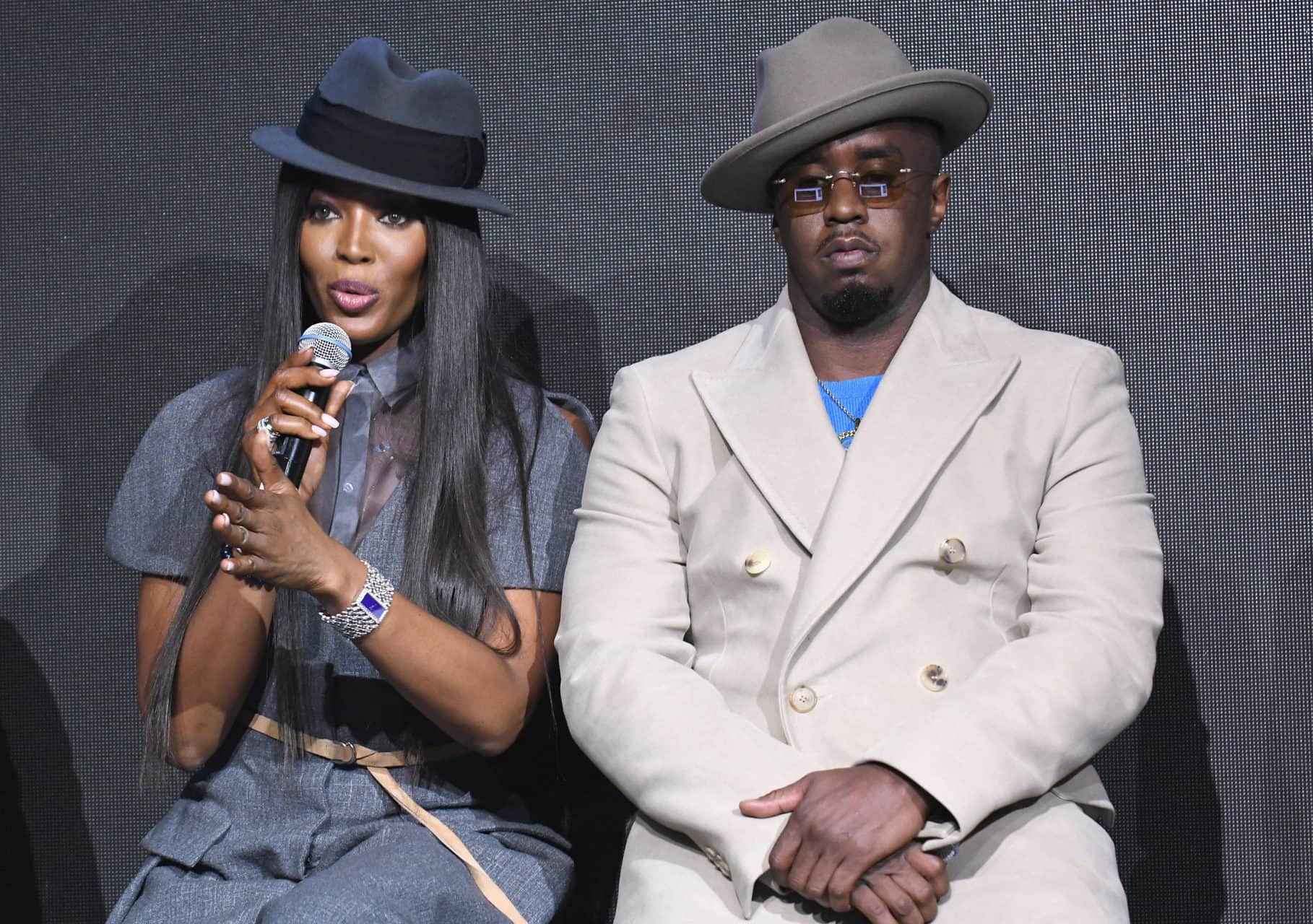 NEW YORK, NY - NOVEMBER 10:  Naomi Campbell and Sean 'Diddy' Combs speak on stage during the Pirelli Calendar 2018 launch press conference at The Pierre Hotel on November 10, 2017 in New York City.  (Photo by Gary Gershoff/WireImage)