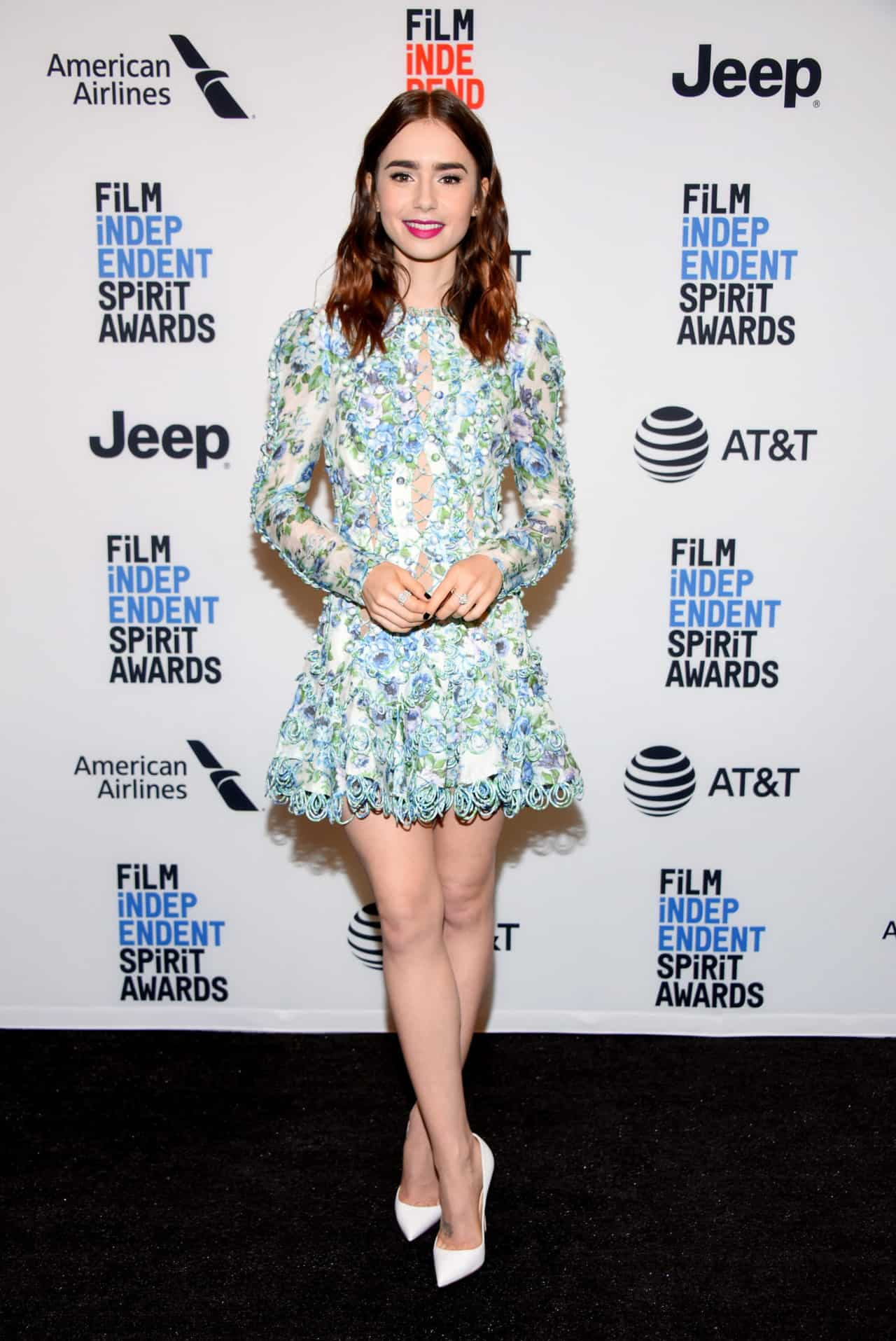 WEST HOLLYWOOD, CA - NOVEMBER 21:  Actor Lily Collins attends the Film Independent 2018 Spirit Awards press conference at The Jeremy Hotel on November 21, 2017 in West Hollywood, California.  (Photo by Araya Diaz/WireImage)